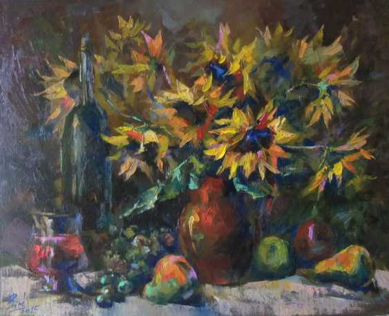 Yulia Bird. Bouquet of sunflowers and red wine. - photo 1
