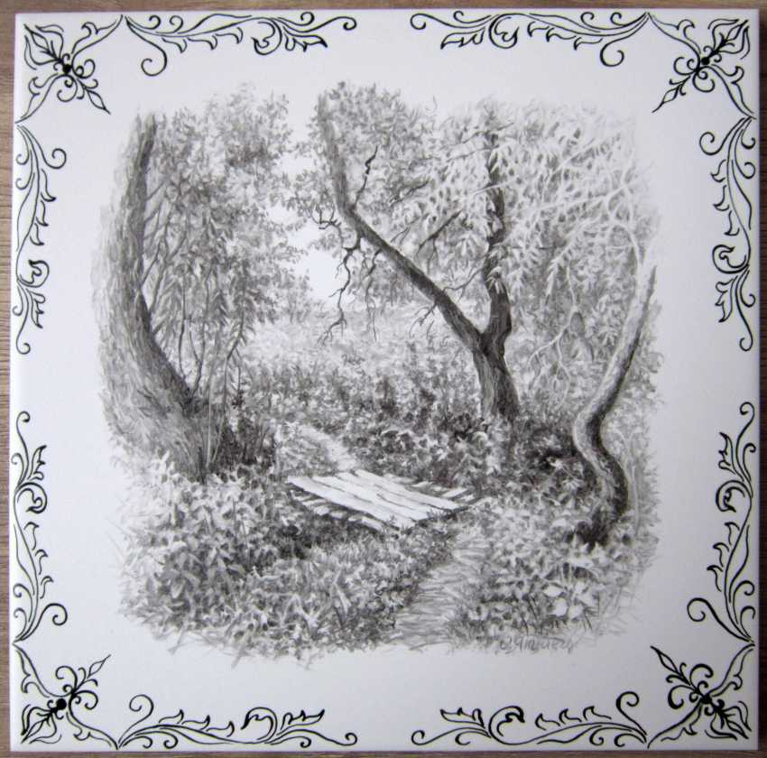 Olga Yakimets. Pair of ceramic tiles with landscapes. - photo 1