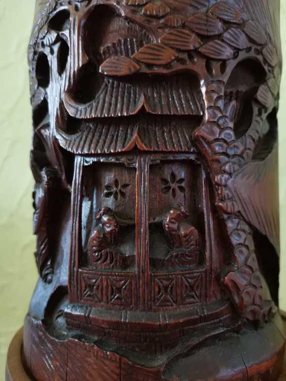 Antike chinesische Pinsel Topf aus Bambus um 1900 - Foto 6