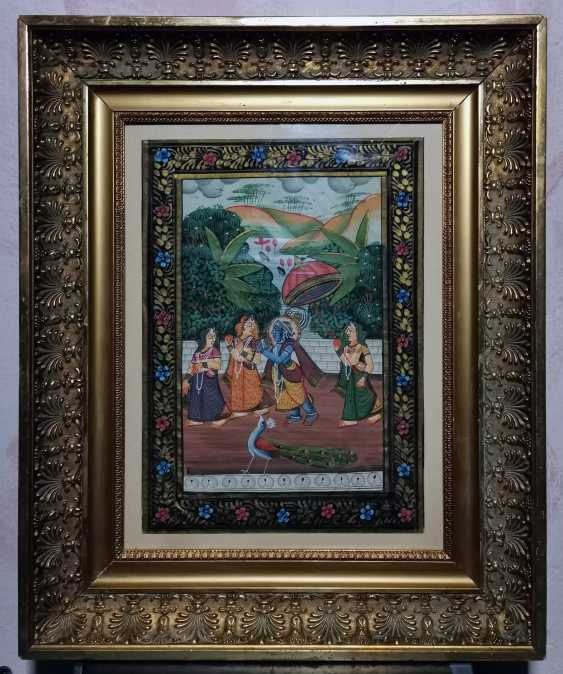 Antique paintings, India, ink on silk circa 1920 - photo 1
