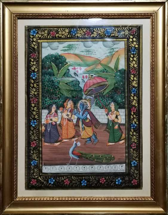 Antique paintings, India, ink on silk circa 1920 - photo 2