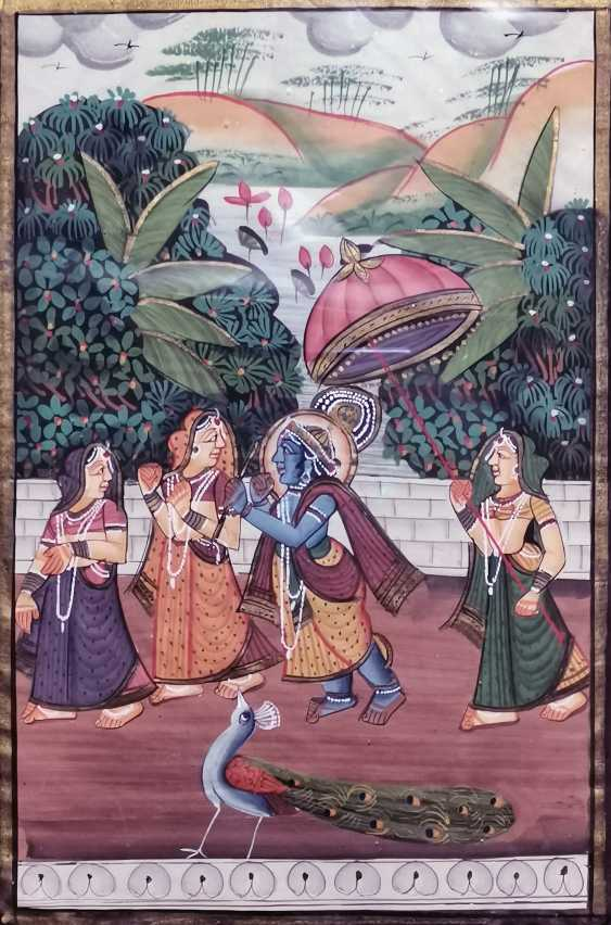 Antique paintings, India, ink on silk circa 1920 - photo 3
