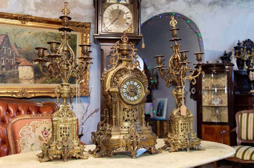 Antique set mantel clock - photo 1