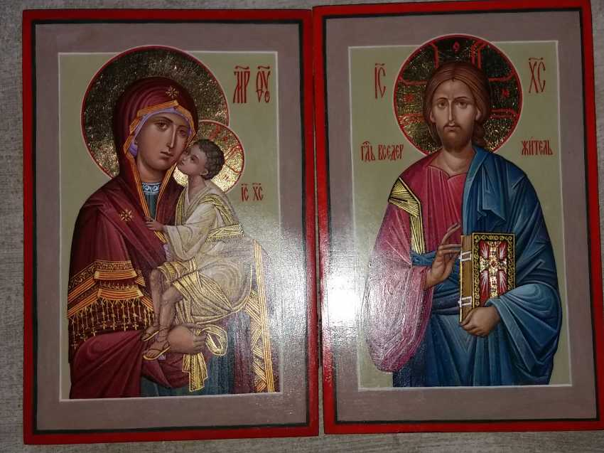 Slava Nikityuk. Wedding pair of icons of the virgin and Jesus Christ. - photo 3