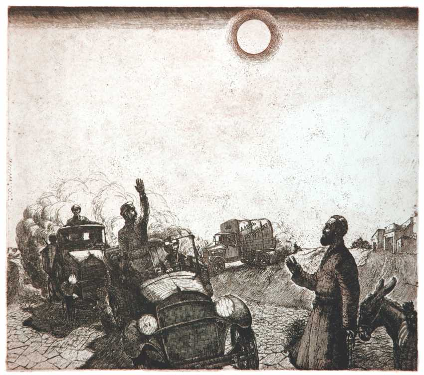 """Petr Annenkov. A series of """"We are our new world..."""" etching on paper, 32х37, 1984 , """"Caravan"""" - photo 1"""