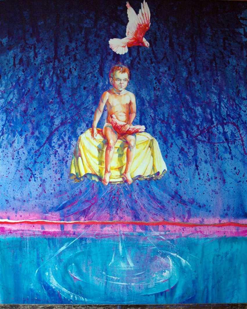 "Petr Annenkov. ""Tear of the child"" 120х150,canvas, gouache, gold leaf, 2015. - photo 1"