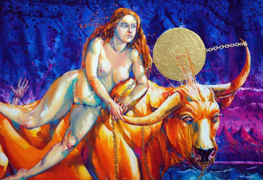 "Petr Annenkov. ""The Abduction Of Europa. A Golden Bull."" Canvas , gouache, gold leaf, 90x120 2016. - photo 2"