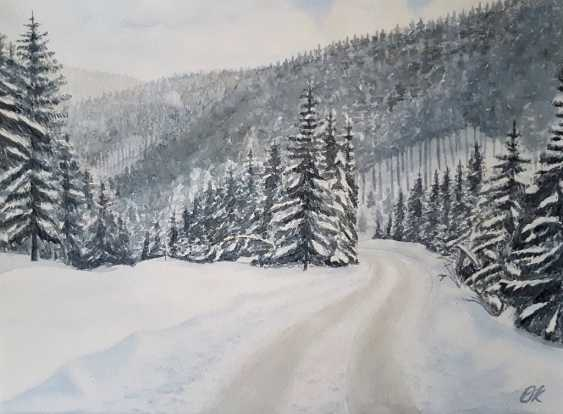 """Olha Krasko. """"The road in the winter forest"""" - photo 1"""