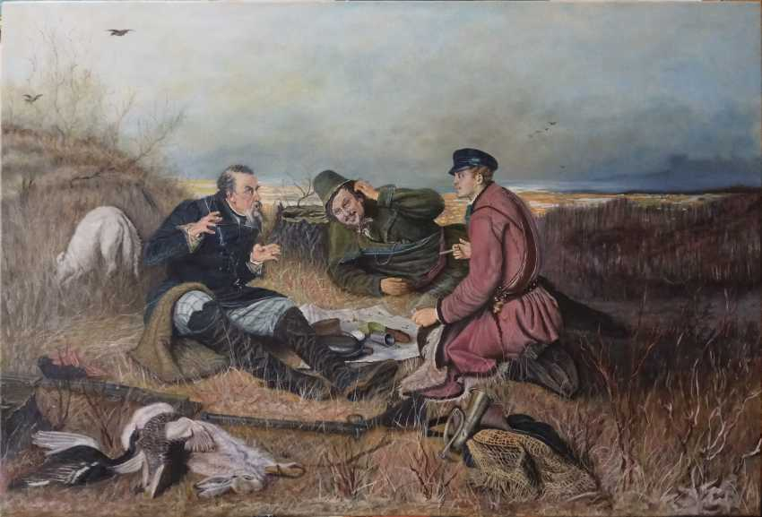 Oleg Dyshkant. copy Perov painting Hunters at rest - photo 1