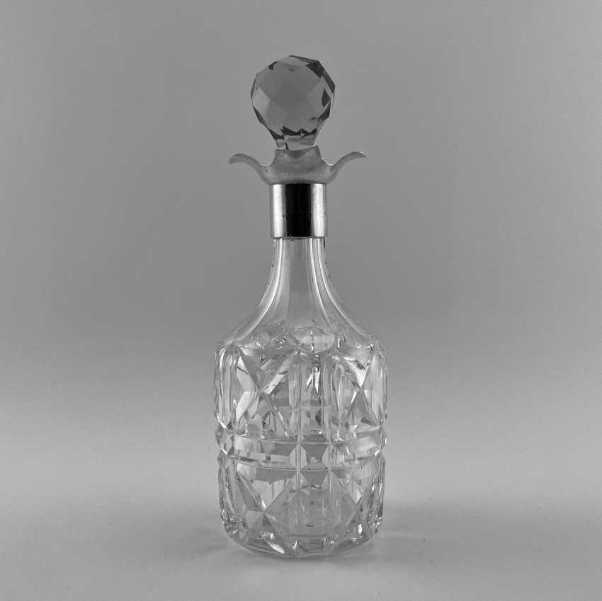 Antiquités de la carafe à décanter, damassé, en Angleterre, Cristal, Argent, 1928, travail manuel - photo 1