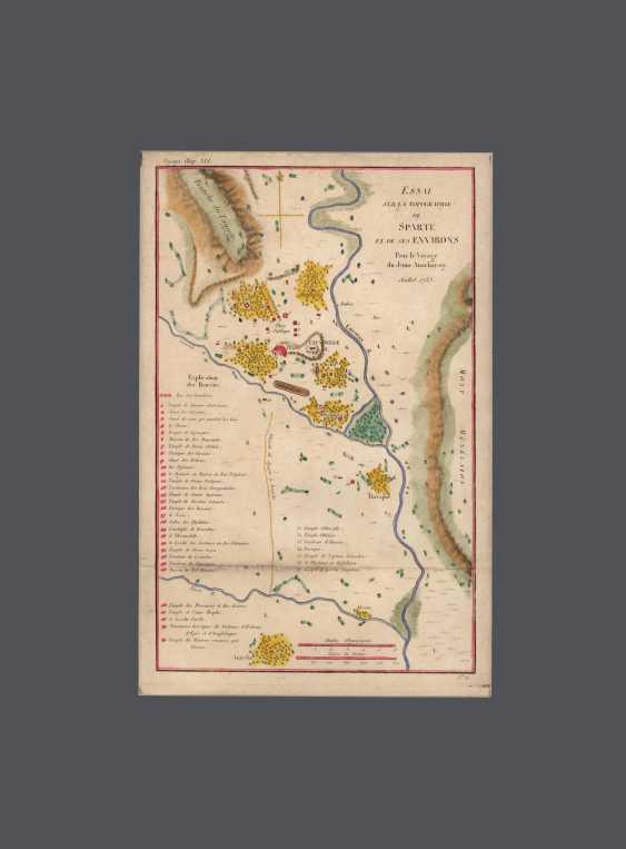 Karte – Aufsatz über die Topographie von Sparta und seine Umgebung. M. Barbie du Bocage - Foto 1