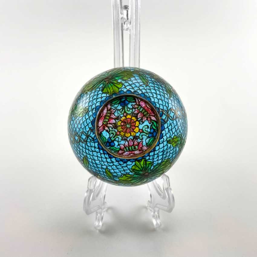 Decorative vase, rare technique of stained glass enamels, China, cloisonné, perfect condition - photo 2