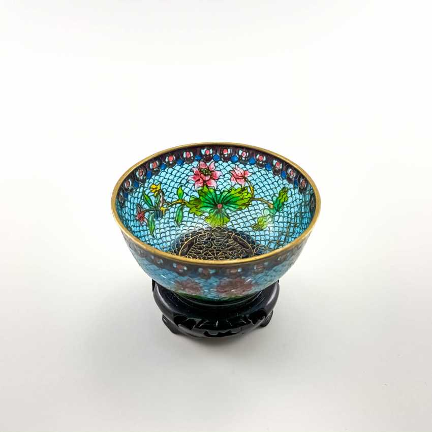 Decorative vase, rare technique of stained glass enamels, China, cloisonné, perfect condition - photo 3