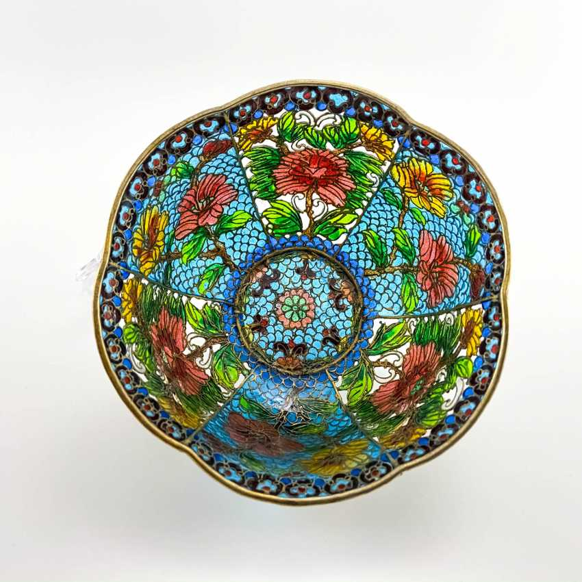 Decorative vase, rare technique of stained glass enamels, China, cloisonné, perfect condition - photo 1