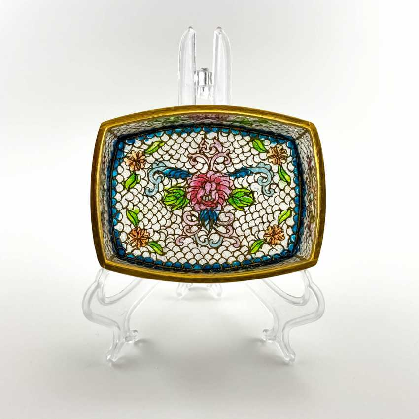 Jewelry box, rare technique of stained glass enamels, China, cloisonné, perfect condition - photo 1