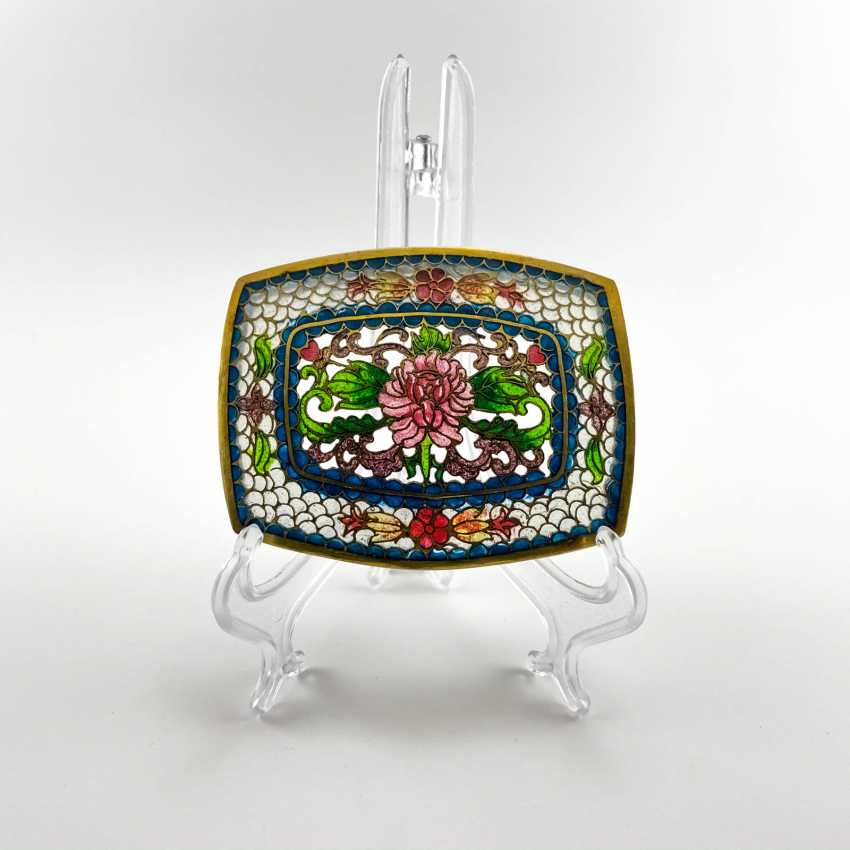 Jewelry box, rare technique of stained glass enamels, China, cloisonné, perfect condition - photo 2