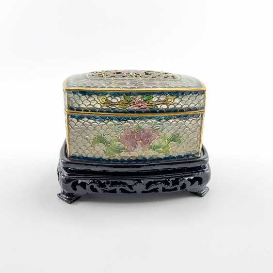 Jewelry box, rare technique of stained glass enamels, China, cloisonné, perfect condition - photo 5