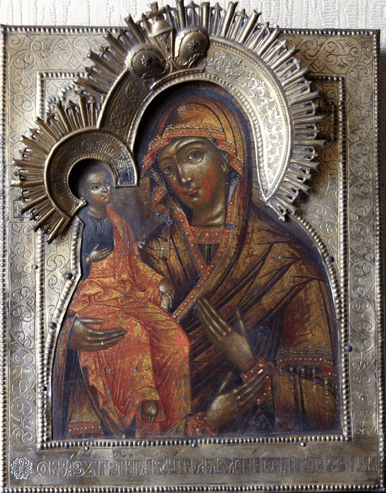 The icon of the blessed virgin,three hands,19th century - photo 1
