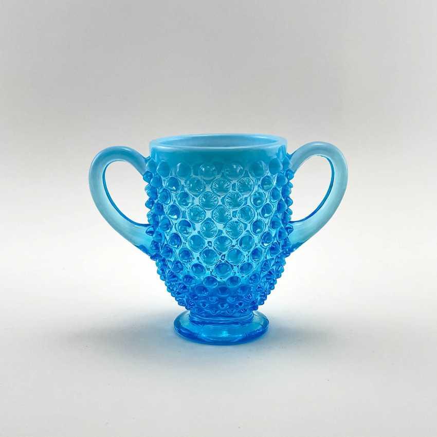 Serving vase of uranium glass Ultramarine, England, company Davidson, 19th century - photo 1