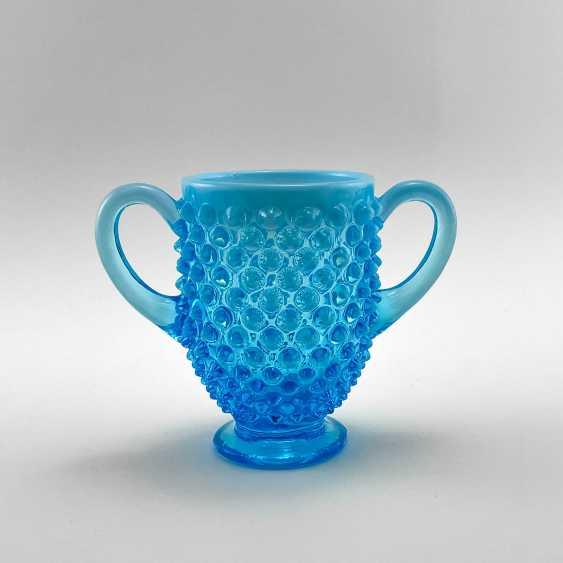 Serving vase of uranium glass Ultramarine, England, company Davidson, 19th century - photo 3