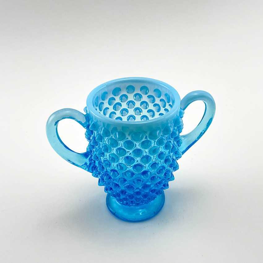 Serving vase of uranium glass Ultramarine, England, company Davidson, 19th century - photo 5
