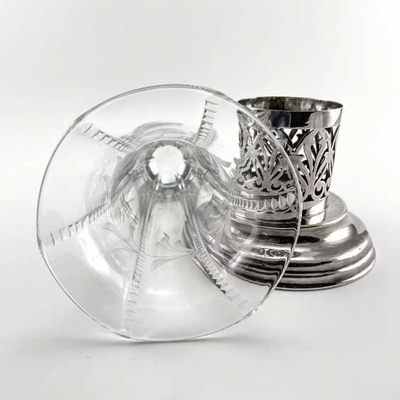 """Kristall-Vase """"Edwin Blyde & Co"""". England, Kristall, versilbert, Gravur, Schliff, 19. - Foto 3"""