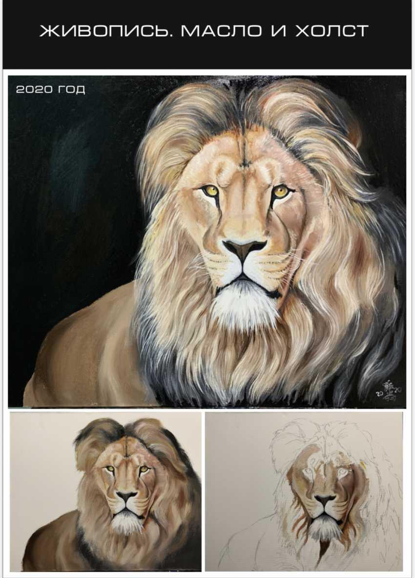 "Oksana Petrenko. ""Lion on black background"" - photo 1"