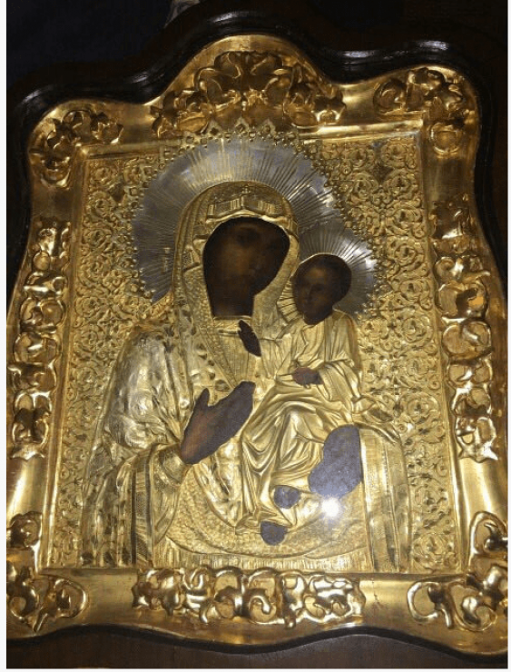 The icon of the Smolensk mother of God Hodegetria , silver - photo 1