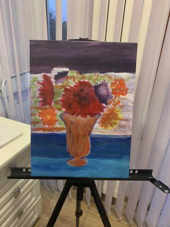 Elina Degtiarova. flowers in orange vase - photo 1