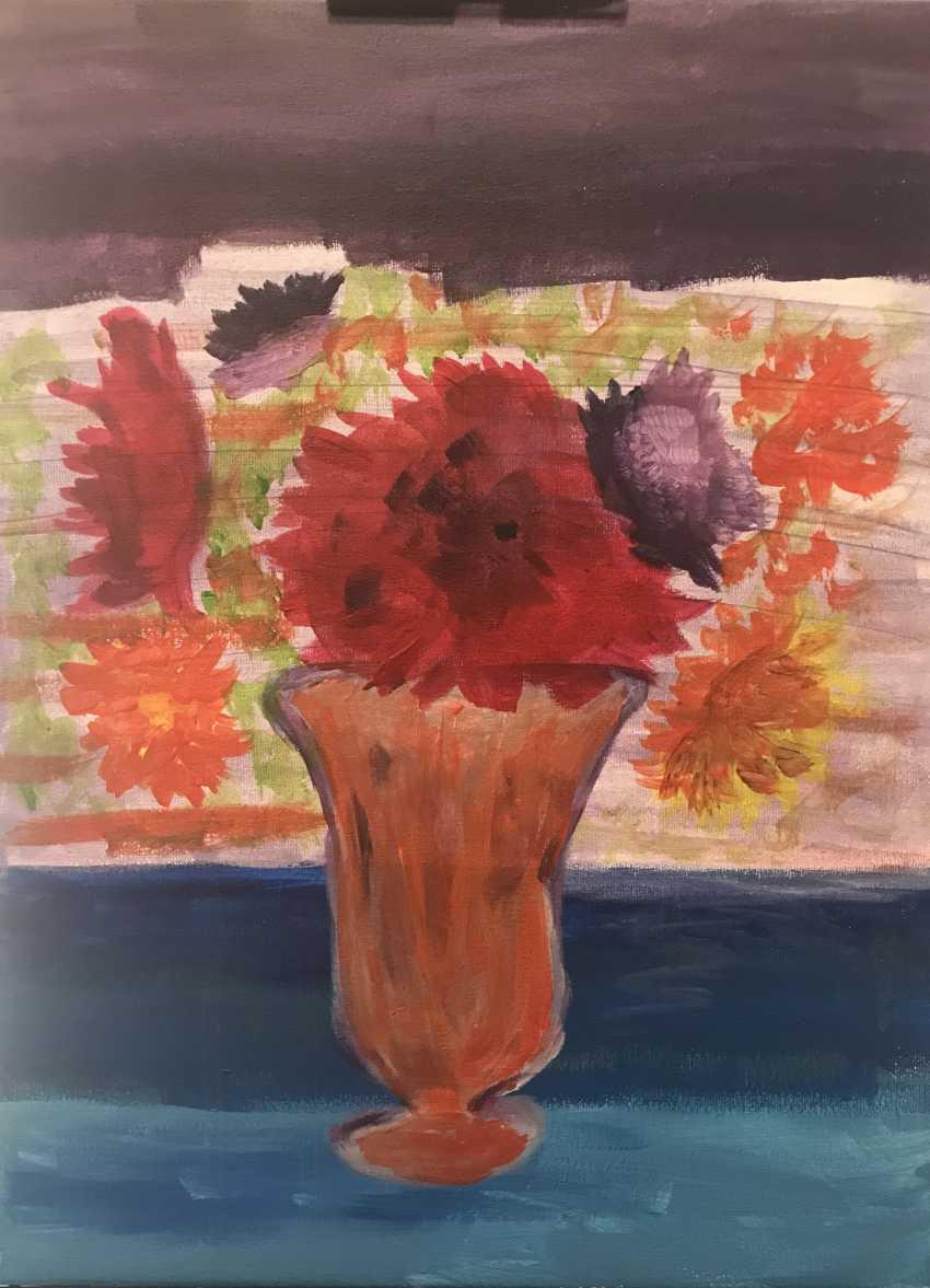 Elina Degtiarova. flowers in orange vase - photo 2