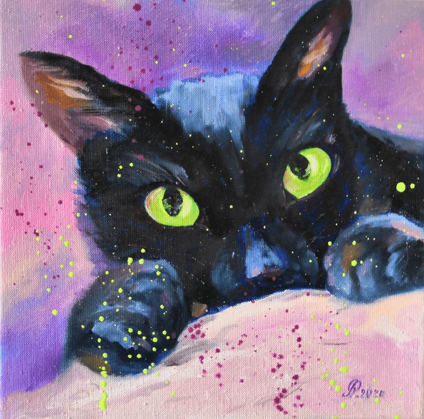 Ludmila Riabkova. Green eyes, cat painting - photo 1