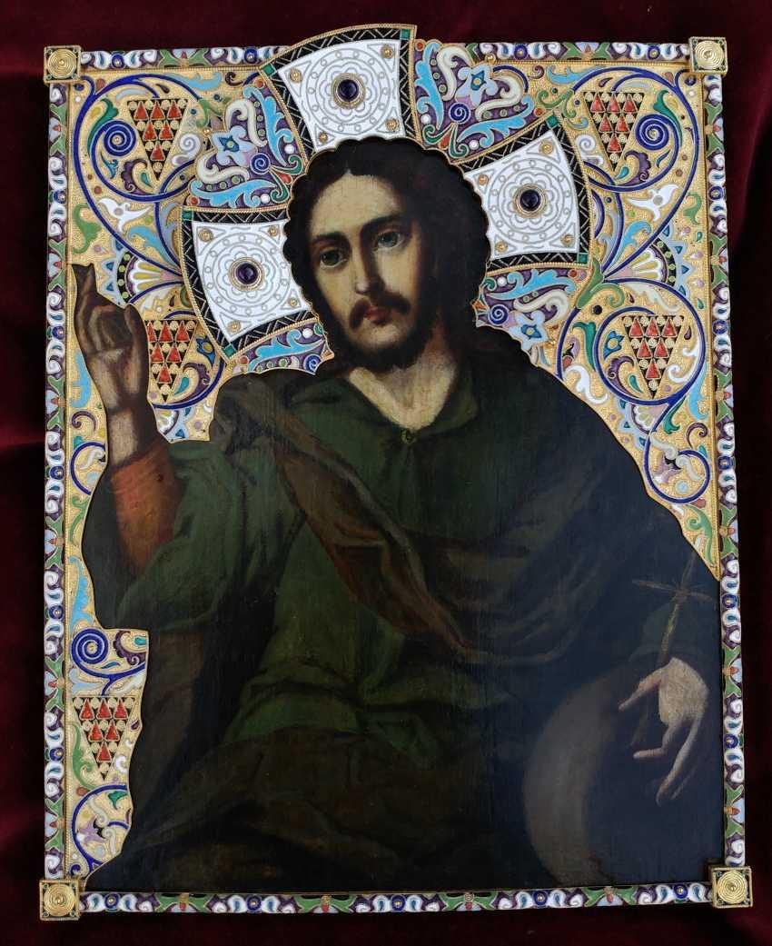 "Icon ""Christ Pantocrator"" in silver cloisonne enamel frame - photo 1"
