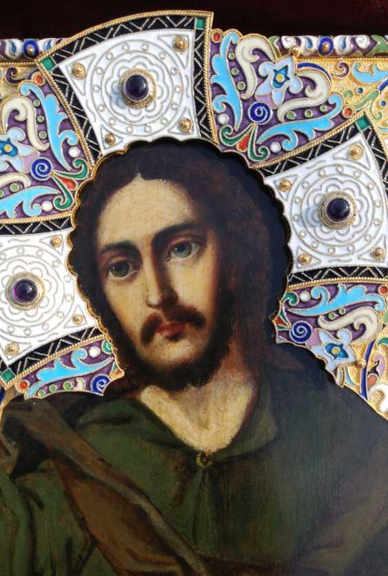 "Icon ""Christ Pantocrator"" in silver cloisonne enamel frame - photo 2"