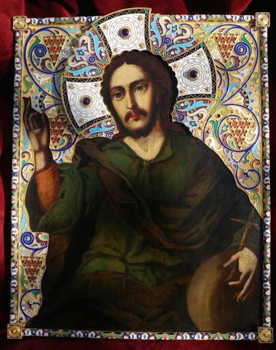 "Icon ""Christ Pantocrator"" in silver cloisonne enamel frame - photo 4"