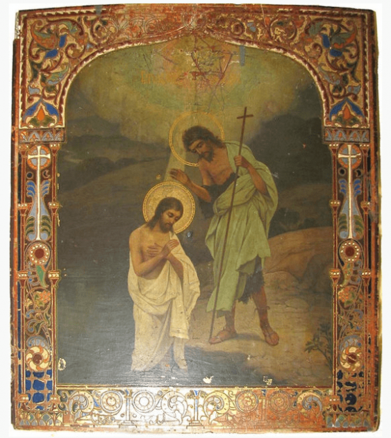 Icon of the Baptism of the Lord XIX-th ve - photo 1