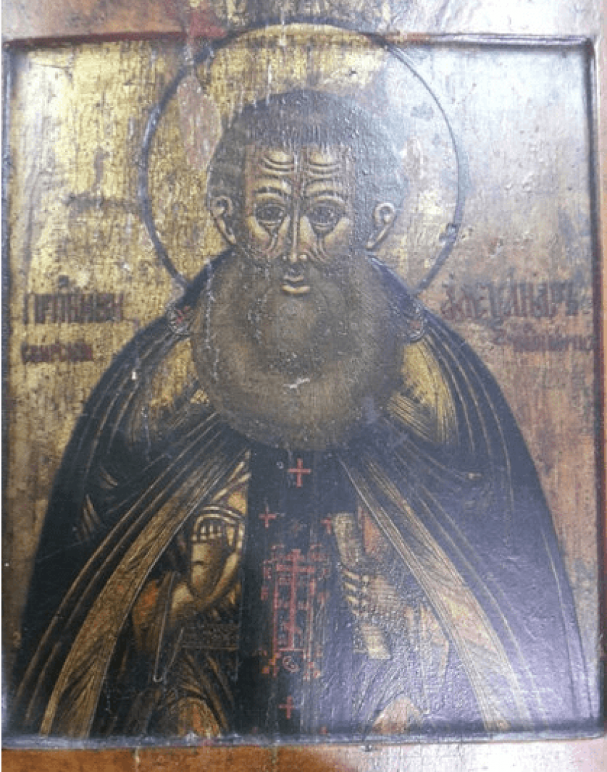 Icon of St. Alexander Svirsky the 19th century - photo 1