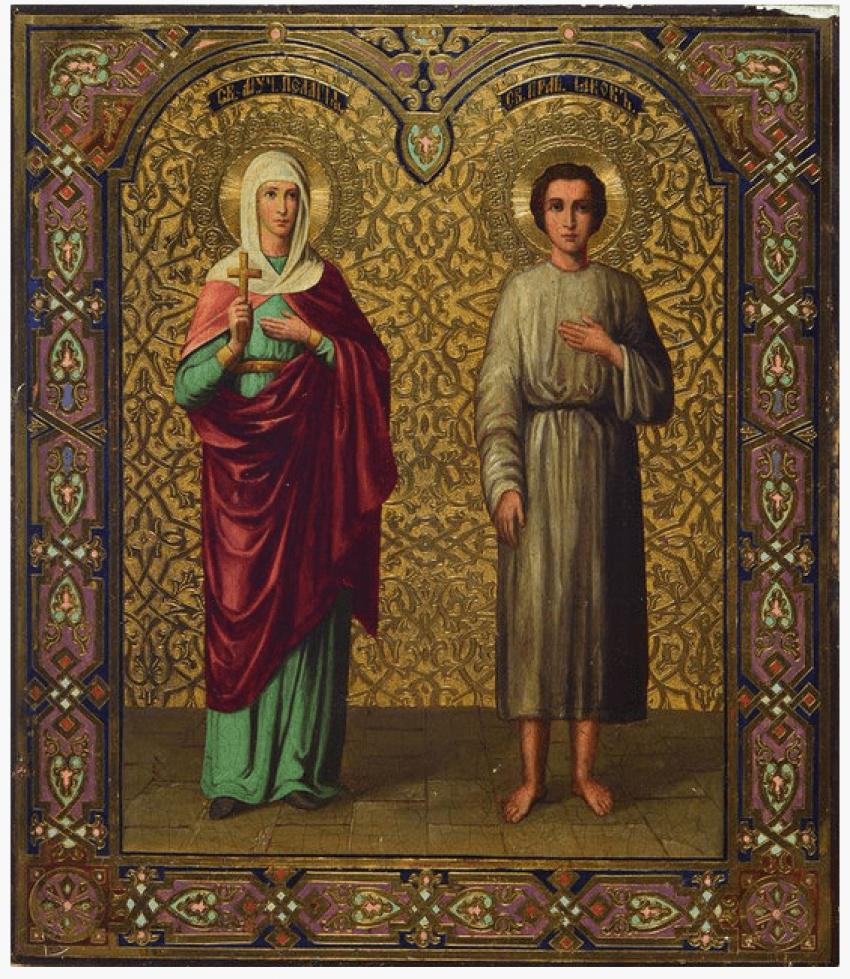 Icon of Saints Pelagia and James, 19th century - photo 1