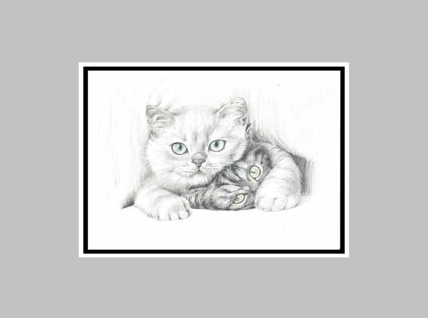 Natasha Mishareva. Life is not the same without a cat. Graphic arts. A4 format, handmade, 2020 Author - Natalia Mishareva - photo 3