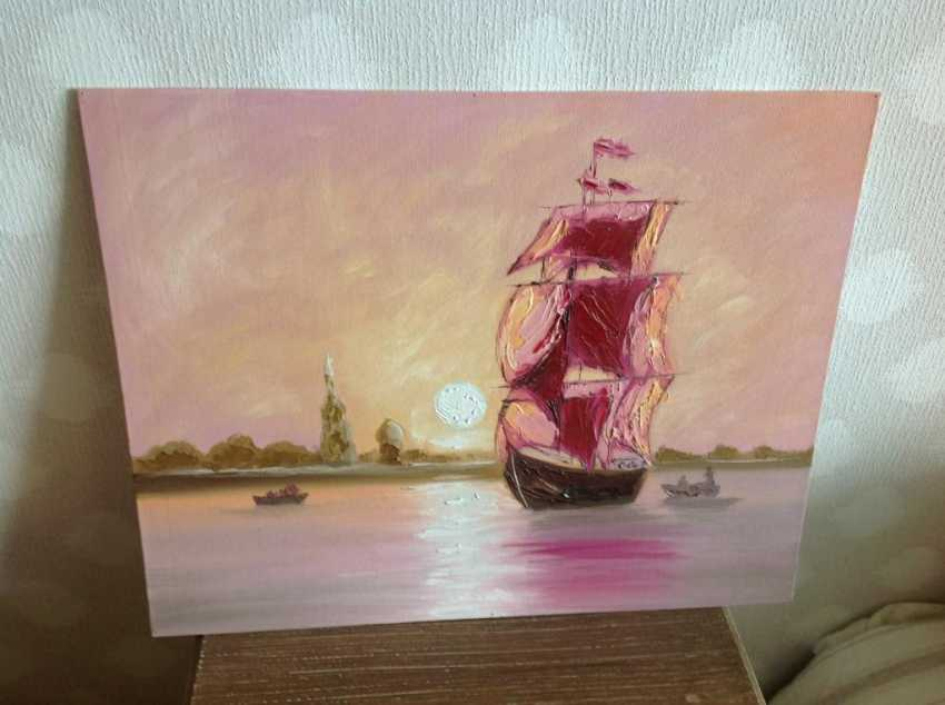 Victor Kuznetsov. Sailing boat in Pink Sunset - photo 1