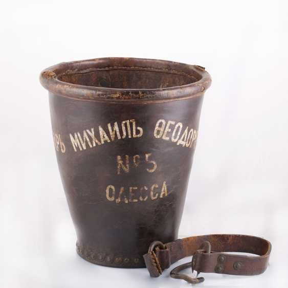 "Leather bucket for gunpowder, ""Tsar Mikhail Fedorovich Odessa №5 "". The Romanov Dynasty. - photo 1"