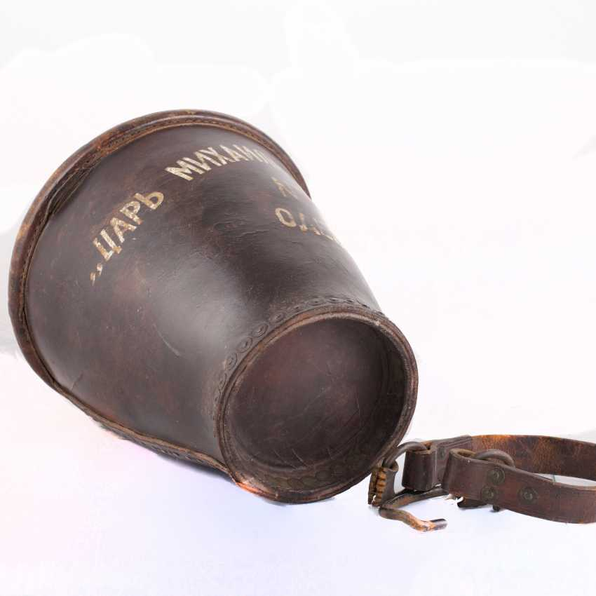 "Leather bucket for gunpowder, ""Tsar Mikhail Fedorovich Odessa №5 "". The Romanov Dynasty. - photo 3"