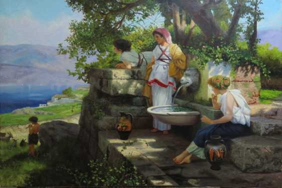 """George Geras. A copy of the picture of Henry Semiradsky """"At the spring"""" - photo 1"""