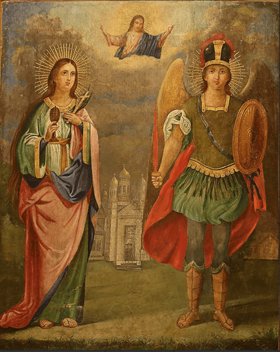 """The Icon Of """" SV. Michael and St. Barbara"""" - photo 1"""