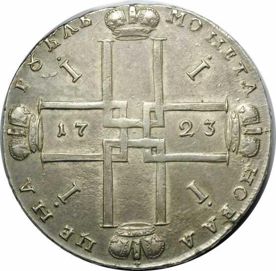 1 Ruble 1723 portrait in ermine mantle, cross, small - photo 1