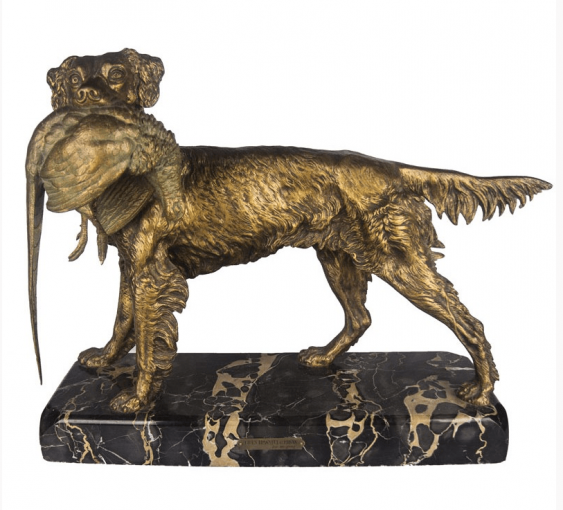 "The sculpture ""Spaniel with pheasant"" - photo 1"