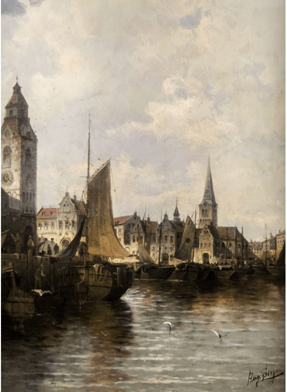 """The painting """"view of a Harbor in Amsterdam"""" - photo 2"""