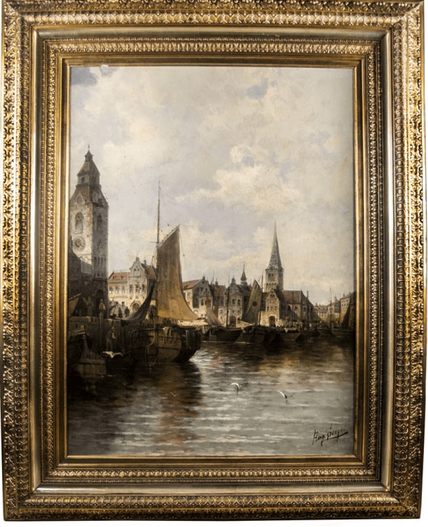 """The painting """"view of a Harbor in Amsterdam"""" - photo 1"""