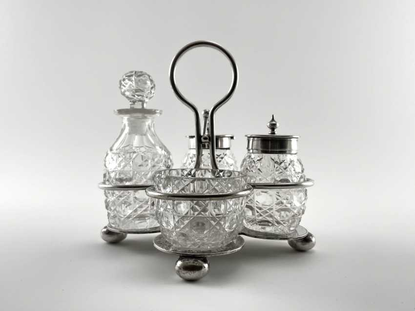 """Set for spices """"Atkin Brothers"""". England, crystal, silver, handmade, 1853-1925 years. - photo 1"""