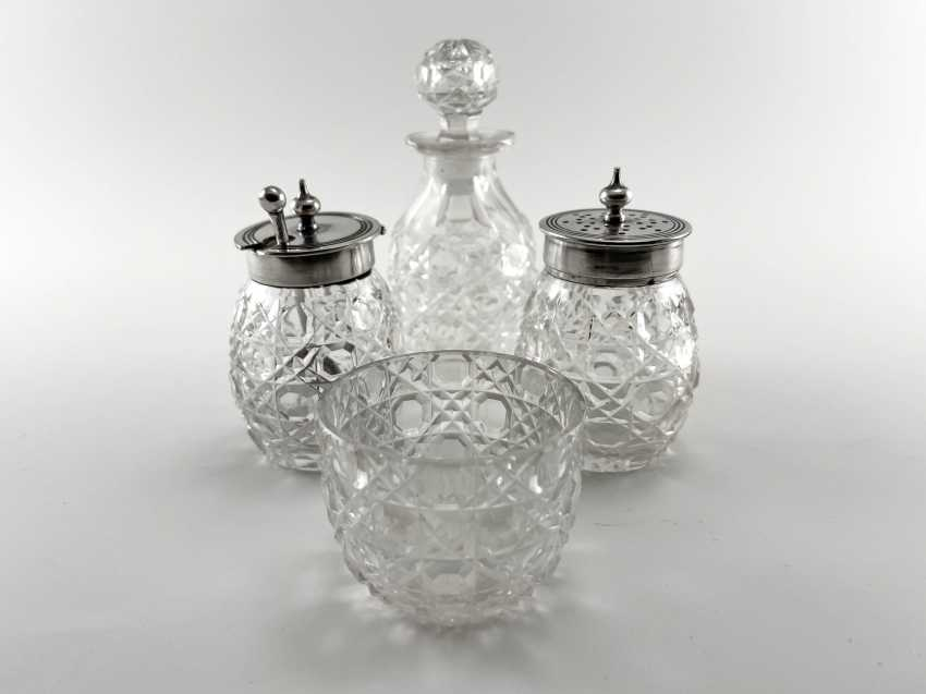 """Set for spices """"Atkin Brothers"""". England, crystal, silver, handmade, 1853-1925 years. - photo 3"""