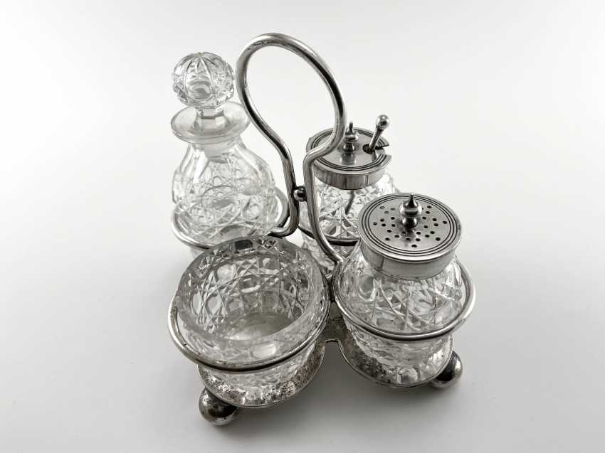 """Set for spices """"Atkin Brothers"""". England, crystal, silver, handmade, 1853-1925 years. - photo 4"""